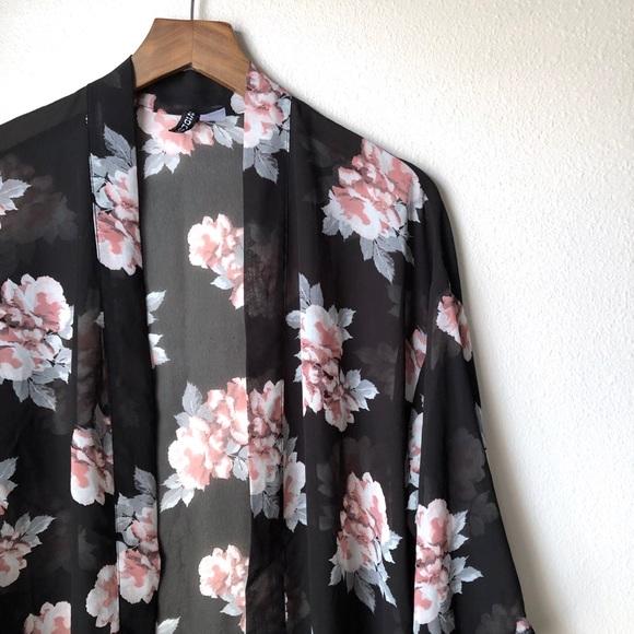 5efdf1806 H&M Sweaters | Hm Divided Black Floral Kimono Cardigan | Poshmark